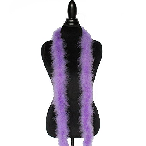 22g, 72' Long Turkey Marabou Feather Boa, 40+ Colors and Patterns to Pick from (Lavender)