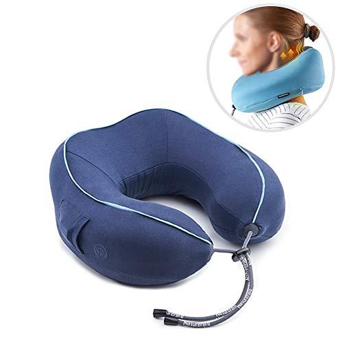 Cervical masajeador cuello hogar amasar cuello eléctrico almohada viaje siesta inteligente U tipo almohada de memoria,Natural,27x26x11cm