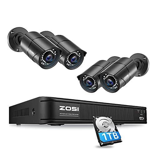 ZOSI 1080p H.265+ Home Security PoE Camera System Outdoor Indoor,8CH 5MP PoE NVR with Hard Drive 1TB and 4 x 1080p Surveillance Bullet IP Cameras with 120ft Night Vision, Mobile Access, Motion Alerts