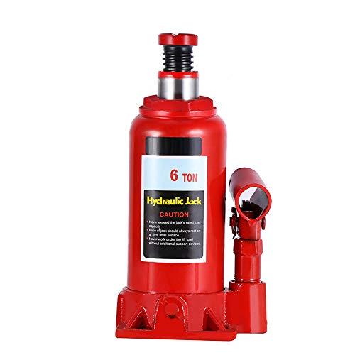 6T Cric Idraulico Auto a Bottiglia, per Auto Furgoni Roulotte Trattori, Martinetti idraulici verticali, Martinetto idraulico, Bottle Jack, Sollevatore idraulico per martinetti
