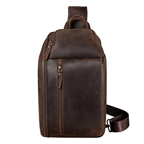 TIDING Leder Schultertasche Herren Taschen Sling Bag Crossbody Rucksack Umhängetaschen Herren für Reise Arbeit Sport Daypack Ykk-Reißverschluss mit großer Kapazität