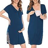 Pinspark Camisón de lactancia para mujer, de manga corta, para embarazadas, para hospital, con botones y encaje, tallas S-XXL azul verde S