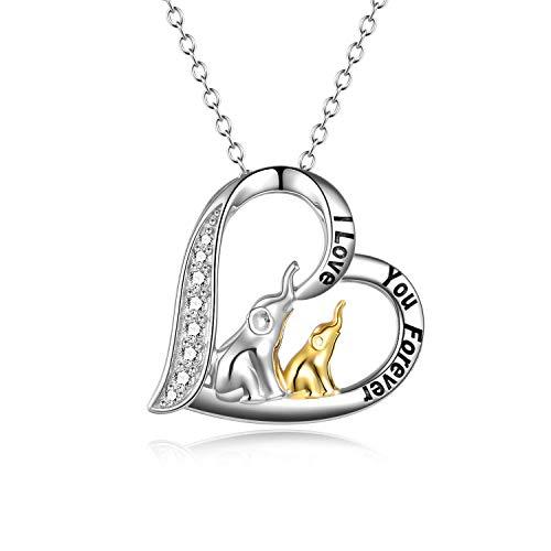YFN Elefant Halskette herzförmige Anhänger Halskette Schmuck Geschenke für Mütter Frauen Mädchen (Mutter Kind Elefant Halskette)
