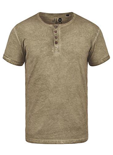 !Solid Tihn Herren T-Shirt Kurzarm Shirt Mit Grandad-Ausschnitt Aus 100% Baumwolle, Größe:XL, Farbe:Dune (5409)