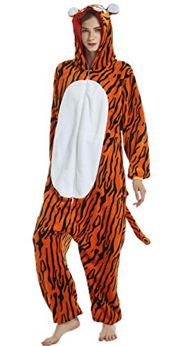 Adulte Licorne Unisex Pyjama Vêtement de Nuit Cosplay Costume Déguisement,Tigre,S fit for Height 145-155CM (57po-61po)