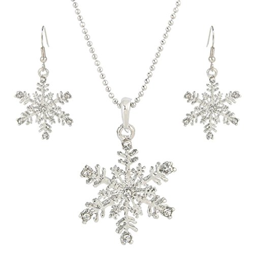 EVER FAITH® österreichischen Kristall elegant Schneeflocke Halskette mit Ohrring Haken Schmuck Set Silber-Ton N05160-1