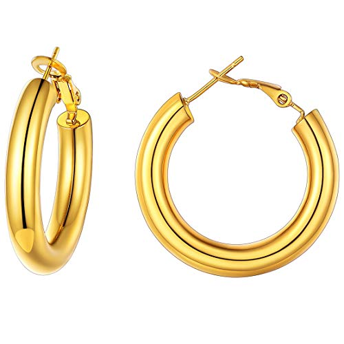 FindChic 30mm Hoop Earrings, 18k Gold Plated Stainless Steel Hoop Earrings 30mm Gold, Small Round Circle Hoops & Loops Ear Piercing Hoop Earrings, Lightweight Hollow Hypoallergenic Gold Hoops Women