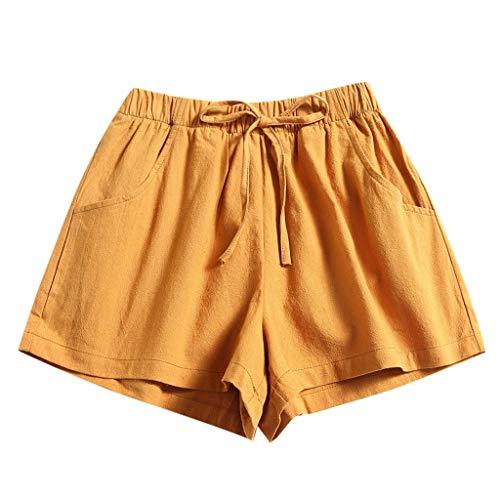 Andouy Damen Einfarbig Yogahose Pyjama Shorts Kurze Badeshorts mit Elastischen Bund und Taschen(M.Gelb)