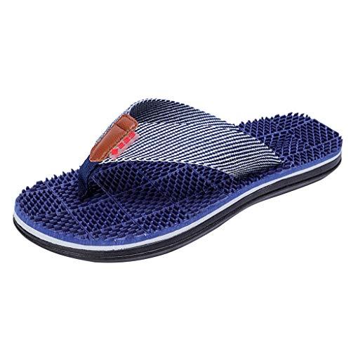 Herren Flip Flops, SANFASHION Mode Beiläufige Flache Hausschuhe Strandschuhe Outdoor Massage Schuhe Sommer Zehentrenner