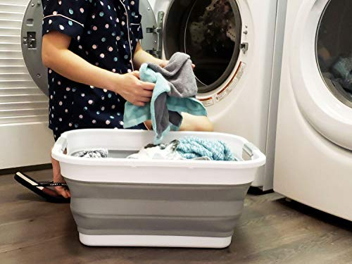 SAMMART Collapsible Plastic Laundry Basket - Foldable Pop Up Storage Container/Organizer - Portable Washing Tub - Space Saving Hamper/Basket (Rectangular, Grey)