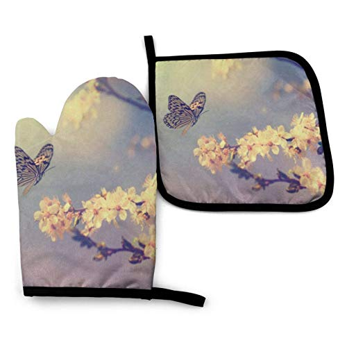 Cherry Blossoms And Butterfly Oven Mitts And Pot Holders Sets Non-Slip Kitchen Counter Safe Mats Heat Resistant Oven Insulated Gloves Potholder For Microwave Bbq Cooking Baking Grilling Barbecue