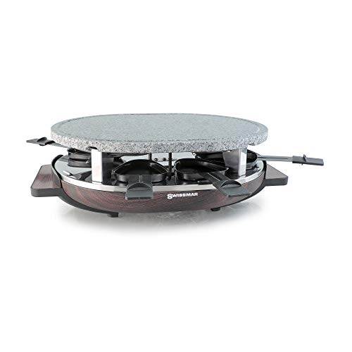 Swissmar Matterhorn 8 Person Raclette with Wood Base and Stone Grill Top