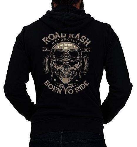 Gasoline Bandit® Design - Biker Racer Kapuzen-Jacke Zip-Hoodie: Road Rash-XXL