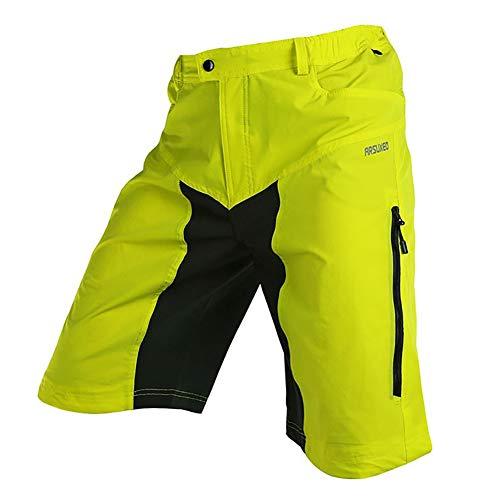 Loose Fit Mountainbike Shorts Herren, 5 Taschen Radsport Downhill Sporthose, Atmungsaktiv, Schnell Trocknend, Leichte MTB-Radhose,Gelb,M