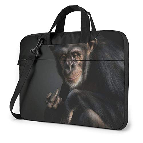 IUBBKI Laptop Case Computer Bag Sleeve Cover Black Chimpanzee Waterproof Shoulder Briefcase 13 14 15.6 Inch