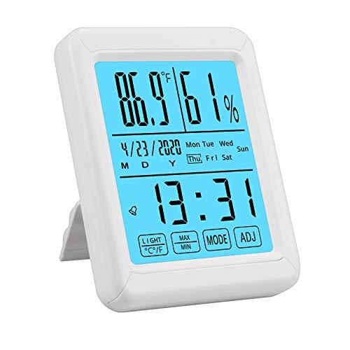 CAMWAY Higrómetro Digital Termómetro Temperatura Humedad con Pantalla táctil Grande, luz de Fondo