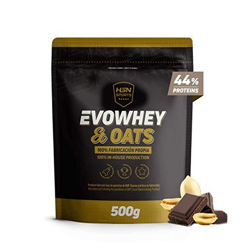 Evowhey & Oats de HSN Sports | Proteína Whey Harina de Avena | Ideal para Desayunos o Meriendas | Bajo en Azúcar, Apto Vegetarianos, Sin Soja, Sabor Chocolate y Cacahuete, 500g