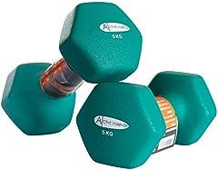 ACTIVE FOREVER Mancuernas hexagonales (par), mancuernas antideslizantes impermeables de neopreno 2 × 5 kg