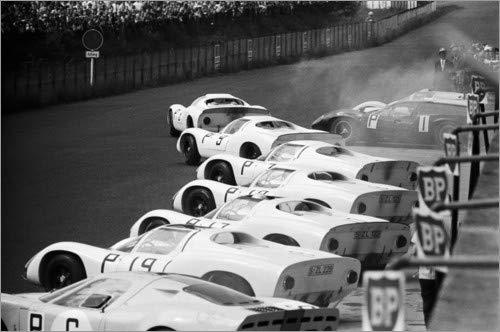 Posterlounge Acrylglasbild 100 x 70 cm: Jo Siffert und Hans Herrmann, Porsche 910/8, Nürburgring 1967 von Motorsport Images - Wandbild, Acryl Glasbild, Druck auf Acryl Glas Bild
