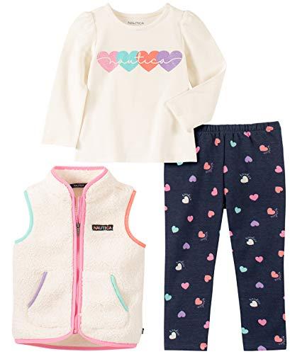 Nautica Conjunto de 3 Piezas de Chaleco suéter para niñas, Marshmallow/Print, 6