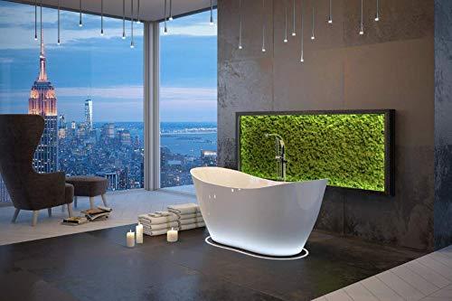 Besco VIYA 160x70cm exklusive freistehende Badewanne + Ablaufgarnitur Click Clack Badewanne aus Marmorkonglomerat (Badewanne mit Standard Abfluss)