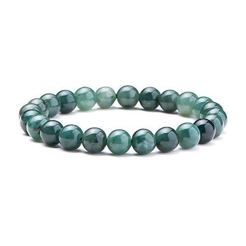 SUNNYCLUE Natural auténtica esmeralda Jade piedras preciosas pulsera elástico 8 mm Ronda Perlas de aproximadamente 7 -unisex