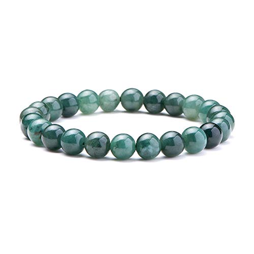 SUNNYCLUE Natural auténtica esmeralda Jade piedras preciosas pulsera elástico 8 mm Ronda Perlas de aproximadamente 7