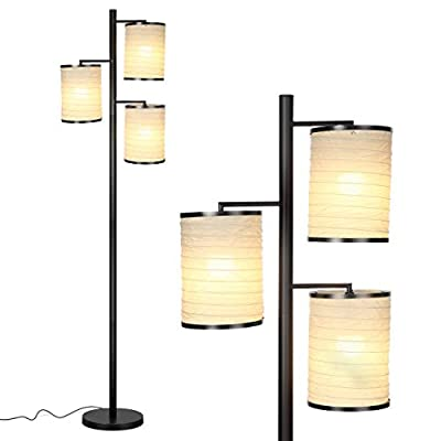 Brightech Liam LED Floor Lamp-Tall Pole Industrial Standing 3 Way Tree Lamp with 3 Decorative Cylindrical Lantern Style Shades- Classy & Contemporary for Living Room Office Bedroom