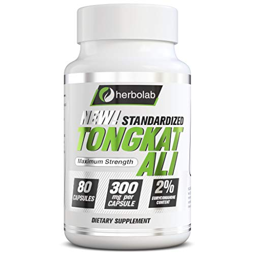 Tongkat Ali Herbolab - Better than 200:1, The Only Highly Concentrated Standardized Tongkat Ali Root Extract on Amazon, 80 Vegetal Capsules 300mg (AKA Longjack, Eurycoma Longifolia, Malaysian Ginseng)