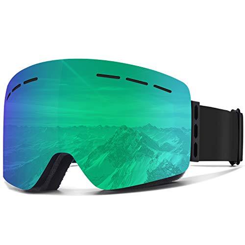 VICTGOAL Skibrille Anti-Fog Snowboard Brille für Brillenträger UV400 Schutz Winddicht Skibrille Herren für Unisex Erwachsenen Skifahren Skaten (Grün)