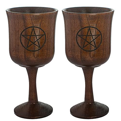 Chalice Goblet, VIDAYA Pentagram Hand-Made Jujube Wooden Wine Goblet Drinking Cup Unique Design Wine Cups Medieval Gothic Goblet 3.8oz/110ml, 2 Pack