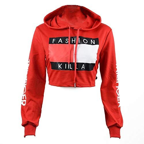 U-WARDROBE Casual Hoodie Literal Printing Sport Crop Top Sweatshirt Jumper Pullover Tops Red S