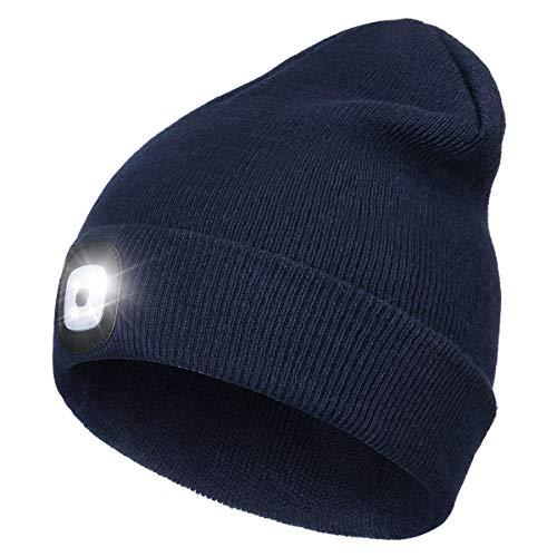 Wmcaps Mütze mit Licht LED, Wiederaufladbare USB Strickmütze mit Licht, Winter Warme Mütze Kappe, Scheinwerferkappe zum Camping, Joggen und Geschenke für Männer Frauen (Navy blau)
