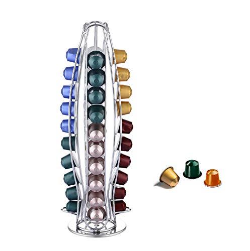 EXZACT Soporte para cápsulas de café, compatible con cápsulas Nespresso Classic (40 piezas) - estante giratorio de torre de cápsulas de café