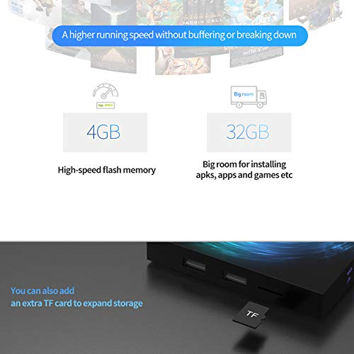 TUREWELL Android Box, T95Z Plus Android 9.0 TV Box Amlogic S905X3 Quad-Core Cortex-A55 4GB RAM 64GB ROM Support 2.4G 5.0 GHz Dual-Band WiFi BT4.0 8K Media Player