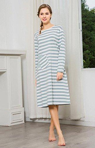 Manica lunga cotone camicia da notte vestaglia autunno nightwear Ultima donna , blue , m (155/80a)