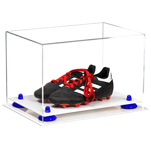 Better Display Cases Acrylic Kids Shoes Display Case - Medium Rectangle Box with Clear Case, Navy Blue Risers and White Base 12' x 8.25' x 8' (V41/A004)
