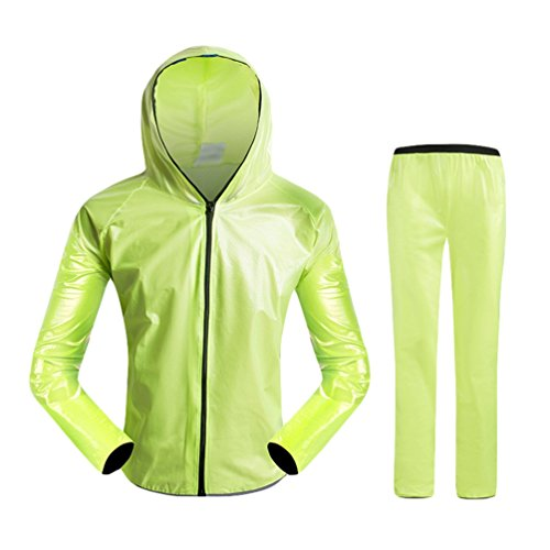 Dexinx Erwachsene Radfahren Windschutz Wasserdicht Jacke im Freien + Hosen Regenmantel Fahrrad Regen Anzug Fahrrad Regen Tragen Atmungsaktive Staubmantel Grün2 XL
