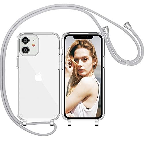 Nupcknn Liquid Silikon Handykette Hülle für iPhone 11 Hülle Silikon Necklace(abnehmbar) Hülle mit Kordel zum Umhängen Handy Schutzhülle mit Band (Hellgrau)