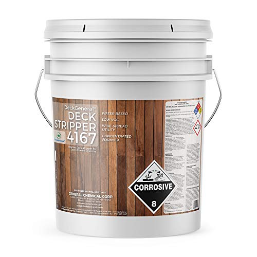 DeckGeneral - Downstream Injectable Deck Stripper 4167 - Water-Based Alkaline Wood Stain Remover - for Stripping Paint, Varnish, Sealer & Stain from Patios, Fences & Outdoor Furniture - 5 Gallon Pail