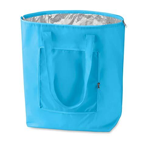 noTrash2003 - Borsa per la spesa pieghevole con custodia, leggera e robusta, con rivestimento interno in alluminio per surgelati, in 6 vivaci colori, Tessuto, Azzurro, 41 cm x 44 cm x 14 cm