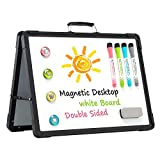 Small Dry Erase White Board – 12' x 16' Mini Magnetic Desktop Foldable Whiteboard Portable Double Sided Easel with Holder for Kids Drawing, Teacher Instruction for Office, School, Home