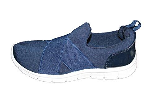 MODA rnon-Baskets légère et Confortable au Look branché-Bleue-Femme ou Ados (39)