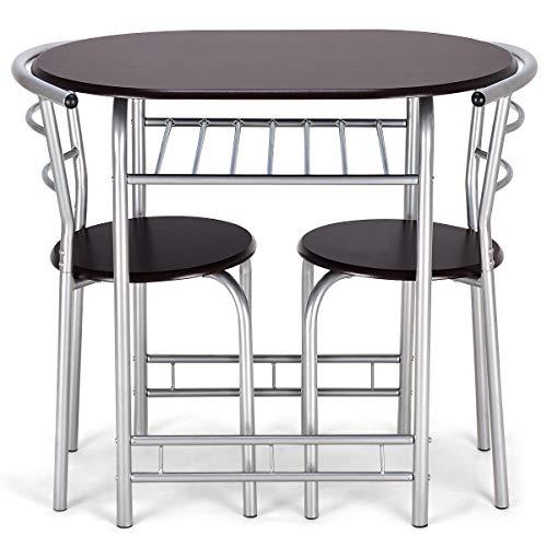COSTWAY Set di Tavolo e 2 Sedie, Tavolo da Bistro Elegante, Tavolo da Bistro Salvaspazio, 80 x 53 x 74 cm/74 x 35 x 35 cm