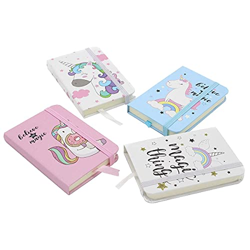 4 PCS Unicorn Notebook 3x4-inch Bullet Journal Inner Pocket Notepad Cute Writing Note Books with Elastic Closure Ruled Memo Book Club Gifts