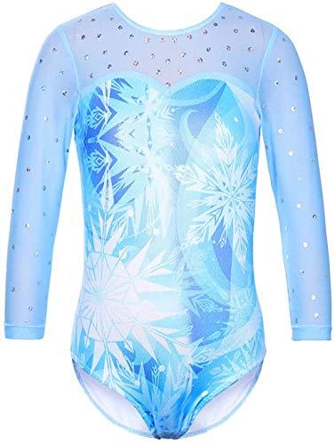 Girls Long Sleeve Shiny Waves Metallic Athletic Dance Gymnastics Leotard Outfit Blue Waves Black Size 10