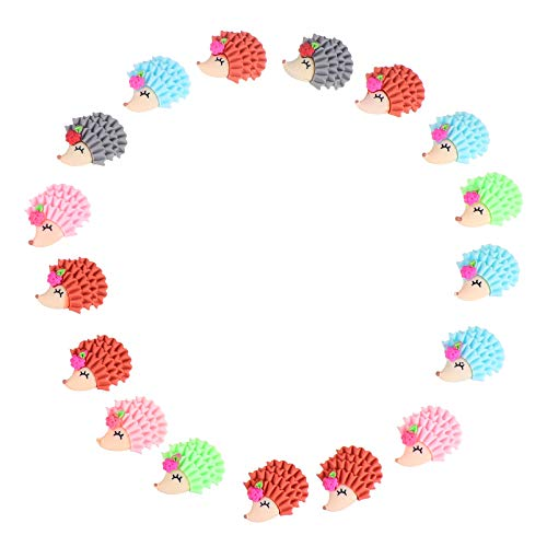 EXCEART 20Pcs Hedgehog Charms Animal Charms Resin Flatback Charms Craft Buttons for DIY Hair Clip Scrapbooking Phone Case Decor (Random)