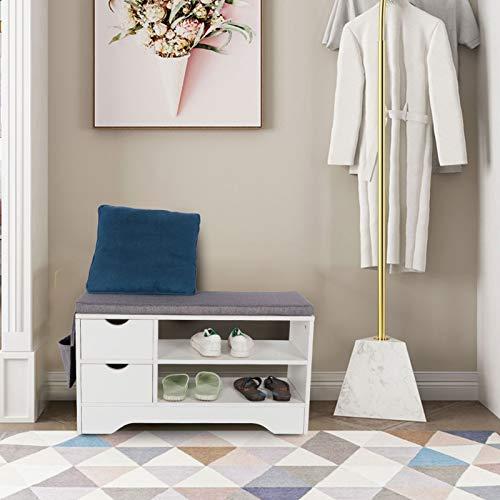 Wakects Zapatero, banco zapatero, armario de almacenamiento de doble capa con 2 cajones para la entrada, pasillo, banco para zapatos con asiento y bolsillos laterales colgantes y cojines