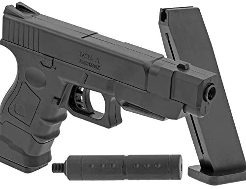 B.W. Softair Gun Airsoft Pistole + Schalldämpfer + Munition | PA66 - Glock-Replika - Schwarz Voll ABS | 32cm. Inkl. Magazin & unter 0,5 Joule (ab 14 Jahre)