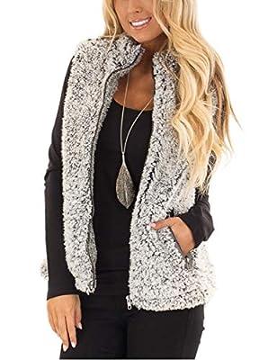 MEROKEETY Women's Casual Sherpa Fleece Lightweight Fall Warm Zipper Vest with Pockets Heather Dark Grey by